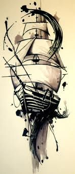 "Ship tattoo idea with - ""She is tossed by the waves, but does not sink"""