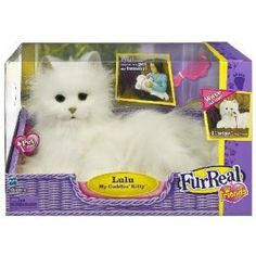 FurReal Friends Lulu My Cuddlin Kitty Cat by Hasbro. $339.00. Fluffy kitty figure moves and makes realistic cat sounds in response to your touch. Scratch her whiskers and she'll move her head. Kitty figure comes with comb. Kitty figure comes with a special adoption certificate. Pet her head and she's purr and roll back. Amazon.com FurReal Friends' My Cuddlin Kitty Lulu is not your average toy cat. A great new friend for the little pet lovers in your home, Lulu ...