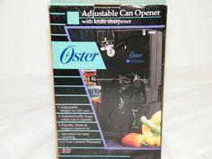 NEW OSTER DESIGNER ADJUSTABLE CAN OPENER w/ KNIFE SHARPENER TALL CANS Model 3131 #Oster