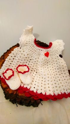 Little Angel dress is white trimmed with a little red sparkle. This dress and…