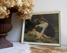 Vintage Framed Lithograph Print Natures Fan Girl With a Child by Bouguereau available at gazaboo