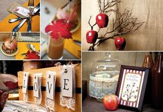 fall wedding theme. Love the incorp of apples, country & fall themed!