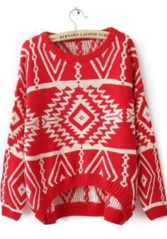 Red and white sweater Red and Black Stylish Long Sleeve Geometric Sweater for Women ROMWE Sweaters Pull Gris, Estilo Hippie, Look Fashion, Womens Fashion, Street Fashion, Fashion Brand, Fall Fashion, Winter Stil, Aztec Sweater