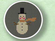Scarfed Up Snowman. Winter Cross Stitch PDF Pattern. $3.00, via Etsy.