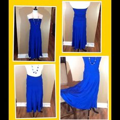 """Bandeau top dress or skirt So cute and versatile  Royal blue tube top sundress or fold down bandeau waist skirt. Measures 35"""" from waist. 62% Poly, 33% Rayon, 5% Spandex. Like new! Imagine topped with a white jean jacket, red shrug or long vest! New Directions Dresses Maxi"""