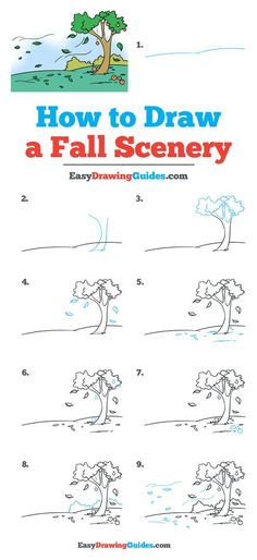 Easy Drawing Tutorial, Drawing Tutorials For Kids, Drawing For Beginners, Beginner Sketches, Landscape Drawing For Kids, Tree Drawing For Kids, Landscape Drawings, Fall Landscape, Landscapes