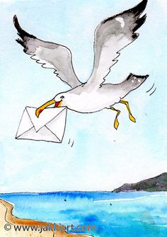 """""""Seagull Message"""" by Jakki Moore ~ French Inks & Watercolour www.jakkiart.com #Seagull #JakkiMoore #Message #Art Watercolour, Disney Characters, Fictional Characters, French, Bird, Animals, Collection, Pen And Wash, Watercolor Painting"""