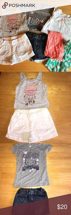 SIZE 5 GIRLS BUNDLE Size 5 Ralph Lauren white denim shorts (small stains in back as pictured), size 6 xilaration cropped tank with dream catcher, size 5 Arizona denim shorts with lace fringe bottom and heart pockets, size 5-6 Hello Kitty t-shirt, size 5 Carter's short and pant pajama set.  Non smoking home Bottoms Shorts