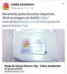Novamente pasta Sensation disponível... VEJA na imagem em BAIXO: http://www.akademiamais.com/produto/pasta-de-acucar-branca-1kg/