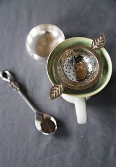 ~ Give mom a moment of peace and quiet ~ Classic Tea Strainer with Matching Spoons ~ Fair Trade and Handmade in India ~ Silver