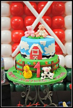 Such an adorable cake at a Farm birthday party!  See more party ideas at CatchMyParty.com!