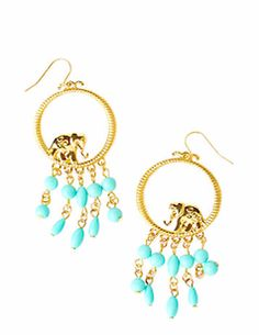 Dangly Lily Pulitzer earrings with elephants