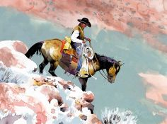 """Gerald Young's Gather, Rest Area- Watercolor, 20"""" x 16"""" By Don Weller  Don Weller always wanted to paint cowboys and horses, and be a cowboy..."""
