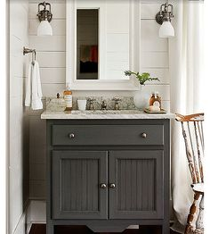 "36"" wide x 22"" deep x 36"" high. Beadboard sink base in Steel Wool with Pewter Hardware. Featured in the Southern Living 2012 Idea House"