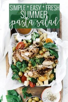 Tender pasta, juicy grilled chicken, salty green olives, spicy pepper jack, bright tomato, and fresh broccoli come together with Italian dressing in this delicious Grilled Chicken Summer Pasta Salad Recipe. Whip this dish up ahead of time for a no-fuss meal. || Oh So Delicioso
