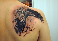 Raven Back Tattoo - 60+ Mysterious Raven Tattoos  <3 <3