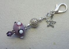 Lampwork Bead w Filigree Ball - Just for You Clip on Charm or Zipper Pull