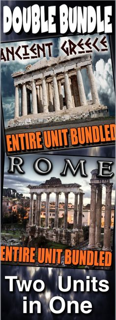 Greece and Rome Units Bundled (two units in one) covers the classic civilizations of Greece and Rome. These units include PowerPoints notes, PowerPoint warm ups, common core informational text documents and primary source worksheets, maps, exit tickets, crossword reviews, Kahoot! review games, videos/video guides, and assessments. Everything is put together with detailed daily lesson plans. Just copy and paste to your lesson plans. This bundle is a tremendous time saver!