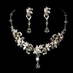 Rashanda - Gorgeous gold w/ Swarovski crystal bridal necklace set