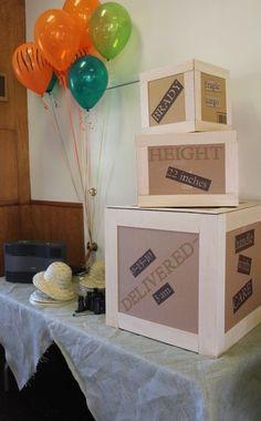 Jungle Safari / Birthday - Crate boxes with birth info: