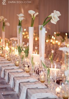 White Wedding Inspiration | Tall simple centrepiece