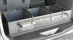 Rear cargo organizer by Rola. Perfect for organizing groceries, sports equipment, camping supplies or anything else in the back of the vehicle.
