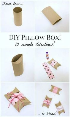 DIY Valentines Pillow Boxes: Turn an empty toilet paper tube into a Valentine pillow box in under ten minutes! by Aeerdna