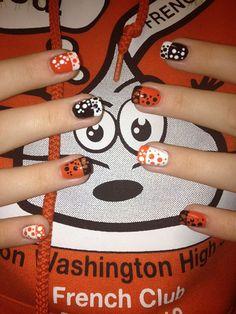 Day 160: Black, White and Orange Polka Dot - - NAILS Magazine
