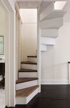 Escaleras Escaleras Modern Stairs - Lilly is Love Barn Homes Floor Plans, Metal Barn Homes, Pole Barn House Plans, Pole Barn Homes, Small Staircase, Loft Staircase, Tiny House Stairs, Stairs In Small Spaces, Attic Stairs