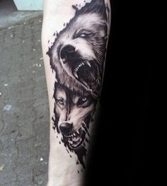 Wolf And Bear Watercolor Guys Forearm Tattoo