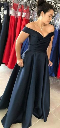 Off the Shoulder Long Navy Prom Dress
