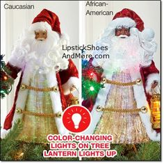 """Fiber optic Saint Nicholas Tree Topper! Glows with fiber optic color-changing light. St. Nick stands 13.5""""H x 7.25""""W x 5.75""""D and uses 3 AAA batteries (not included). Made of polyester & plastic. Price: $24.99. I have many Santa/St Nick & Angel decorations around my home on flat surfaces at Christmas time that are originally meant as tree toppers!"""