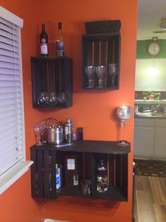 DIY home bar made from craft store wooden crates Diy Home Bar, Diy Home Decor, Bar Palettes, Diy Casa, Inexpensive Home Decor, Wooden Crates, Wine Crates, Home Upgrades, Crate Storage