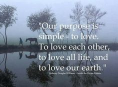 OUR PURPOSES SIMPLE - TO LOVE. TO LOVE ALL LIFE, AND TO LOVE OUR EARTH.