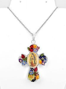 Sterling Silver Natural Flowers Virgin of Guadalupe Pendant Taxco Mexico
