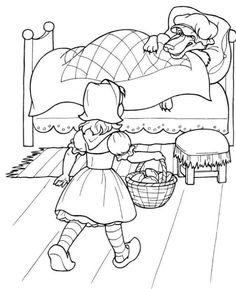 Little Red Riding Hood Coloring For Kids, Coloring Pages For Kids, Coloring Sheets, Red Riding Hood Party, Fairy Tale Crafts, Fairy Tale Activities, Fairy Tales Unit, Wolf, Disney Drawings