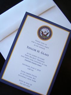 Joining Navy -- Farewell Party military invitations or announcements-- USN BOOTCAMP or OCS -- Patriotic Papers. $2.65, via Etsy.