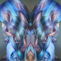 """Fabulous multi-hued hair color design and sweet finish by @samploskonka #hotonbeauty"""