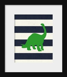Dinosaur Prints Navy White and Green Set of 3 for by HolaSunshine, $20.00
