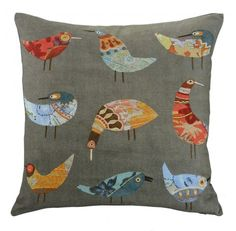 Product Description A design with loads of charm, our popular Birds cushion has a bright quirky aesthetic. Featuring a colourful print on grey cotton, these lit Decorative Cushions, Scatter Cushions, Throw Pillows, Black And White Cushions, Cushions Online, Textiles, Cool Chairs, Stitch Design