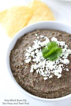 Easy Black Bean Dip Recipe from twopeasandtheirpod.com Love this healthy dip and it only takes 5 minutes to make!
