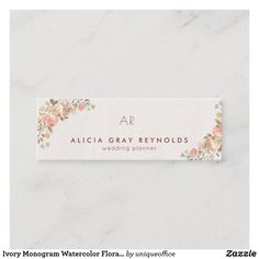 Ivory Monogram Watercolor Floral Wedding Planner Mini Business Card Watercolor Background, Floral Watercolor, Unique Office Supplies, Blooming Rose, Wedding Announcements, Rose Bouquet, Floral Wedding, Wedding Cards, Business Cards