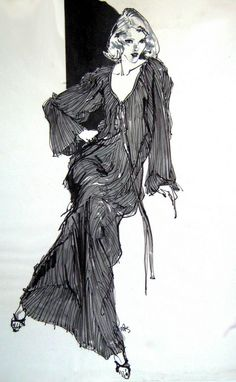 Fashion illustration by Kenneth Paul Block, circa 1980, Marker, Graphite and Wash.