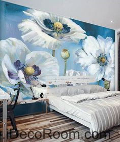 White Flowers Oilpainting 000019 Wallpaper Wall Decals Art Print Mural Home Decor Gift Office Business