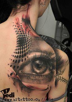http://tattooideas247.com/eye-back-tattoo/ Eye Back Tattoo #Abstract, #Back, #Dots, #Eye, #Pattern