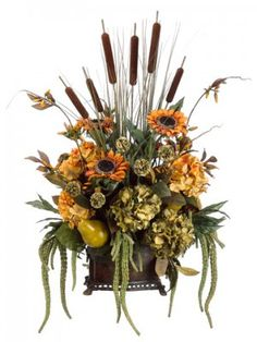 Large Sunflower Cattail Silk Flower Arrangment ARWF2991 : Floral Home Decor, silk rose arrangements, tulip floral arrangements, magnolia silk flower arrangements, tropical arrangements, tropical silk flower arrangements, peony arrangement, sunflower arrangements