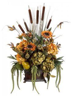 floral silk arrangements | Large Sunflower Cattail Silk Flower Arrangment ARWF2991