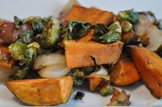 Lighthearted Locavore: Roasted Sweet Potatoes, Brussels Sprouts, Vidalia Onion, Balsamic and Honey Vegetable Recipes, Meat Recipes, Fall Recipes, Summer Recipes, Healthy Recipes, Meat Meals, Drink Recipes, Vegetarian Recipes, Roasted Vegetables