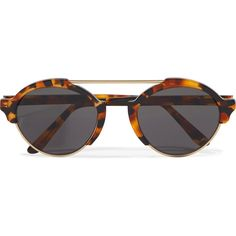 Illesteva Milan III round-frame acetate and gold-tone sunglasses featuring polyvore women's fashion accessories eyewear sunglasses tortoiseshell illesteva round tortoiseshell sunglasses uv protection sunglasses tortoise shell sunglasses gold colored glasses