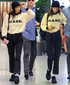 MODE Sweatshirt, gestreifte Hose, Mütze, Turnschuhe Another one of the many ways that you can famili New Teen Fashion, Look Fashion, Fashion Models, Autumn Fashion, Fashion Outfits, Man Fashion, Spring Fashion, Bella Hadid Outfits, Bella Hadid Style